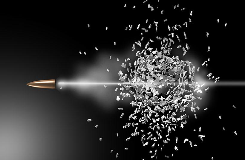 bullet smashing through a target